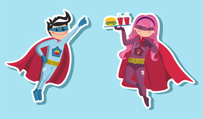 Superhero boys illustration