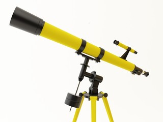 Yellow telescope isolated on a white background