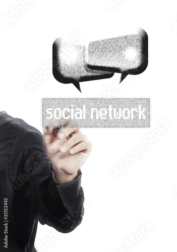 business man drawing social network and chat box