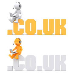3d character sitting on .CO.UK domain sign. Isolated on white