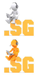3d character sitting on .SG domain name. Isolated on white