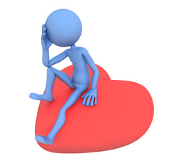 Sad lover sitting on red heart. 3d illustration. Isolated on
