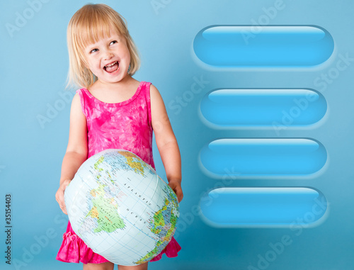 A girl with the globe is choosing