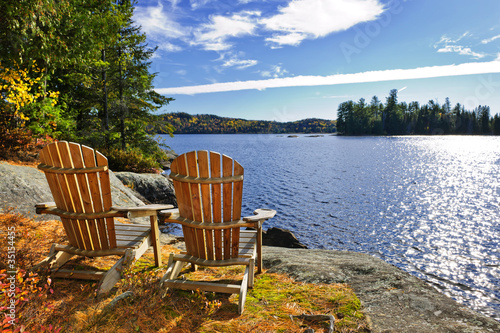 Canvas Meer Adirondack chairs at lake shore
