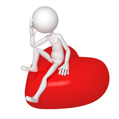 Sad lover sitting on red heart