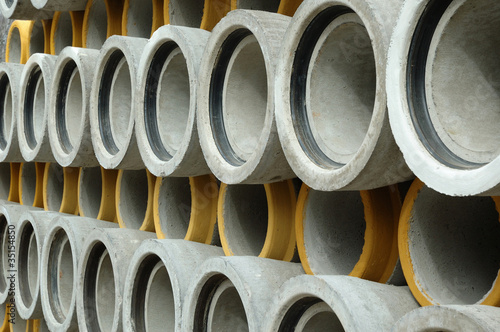 Concrete sewer pipe warehouse