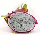 A whole and half dragon fruit.
