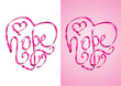 Hope - Heart shape calligraphy with ribbon - Vector Illustration