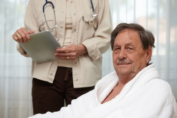 Mature man at health control