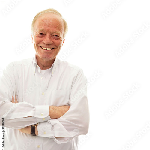 Handsome senior man . Isolated over white background