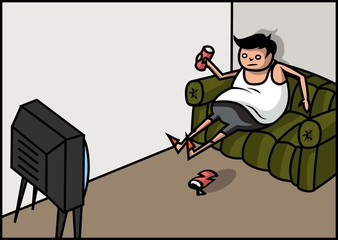 Vector illustration: Fat man watching tv and drinking beer