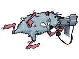 Cartoon rodent with a big gun poster