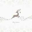 Jumping Reindeer, Christmas Ball & Snowflakes Taupe
