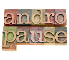 andropause word in letterpress type