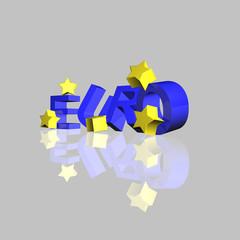 eurozeichen mit sternen 3d