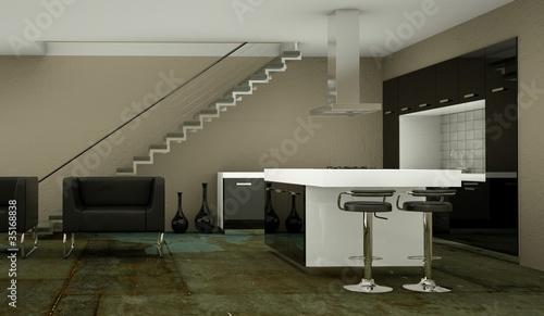 Wohndesign - schwarze Küche im Loft