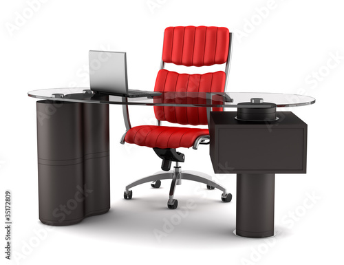 modern office workplace isolated on white background