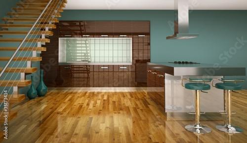 Wohndesign - braune Küche