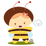 baby girl with bee kawaii costume poster