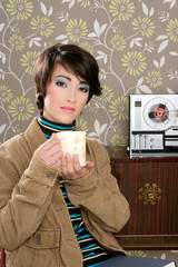 coffee cup drinking retro fashion 60s woman