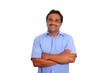 Indian latin businessman blue shirt isolated on white