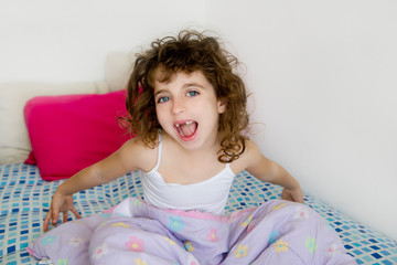 awakening girl yawning bed messy morning hair