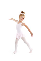 Ballerina little ballet children dancer dancing on white