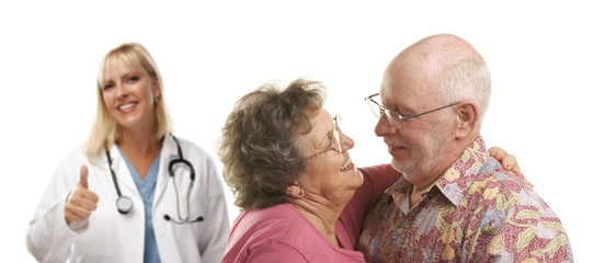 Senior Couple with Medical Doctor or Nurse Behind