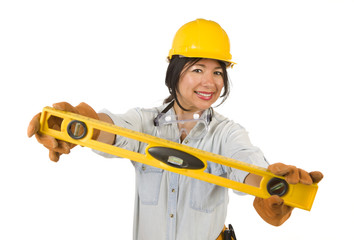 Hispanic Woman with Hard Hat Holding Level