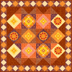 Brown patchwork quilt