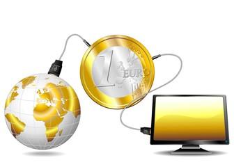 Finanza Mondiale e Tecnologia-Trading Online Concept-Vector