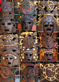 aztec mayan wooden indian mask handcrafts poster
