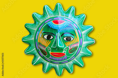 Mexican indian sun handcraft ceramic isolated - 35177653