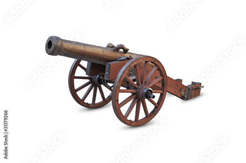 Ancient cannon on wheels isolated on white background
