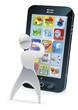 Metallic cartoon character phone concept