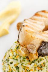 fish steak with rice