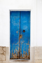 Blue wood door Mediterranean architecture Ibiza