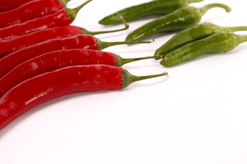 Chili peppers on a white background