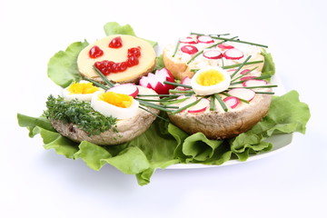 A plate of funny sandwiches for kids