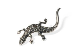 lizard brooch, jewelry, metal