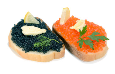 sandwich with black and red caviar
