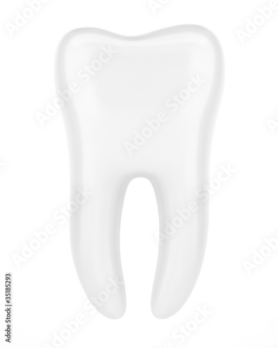 3d human tooth isolated on white background