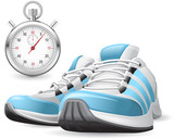 Running Shoes and stopwatch