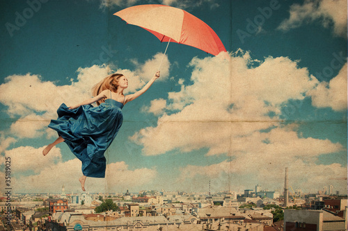 art collage with beautiful young woman with umbrella