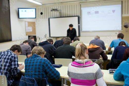 college student sitting in a classroom