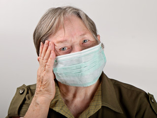 Senior woman  wearing protective mask