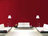 Fototapety Lounge mit roter Wand
