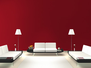 Lounge mit roter Wand