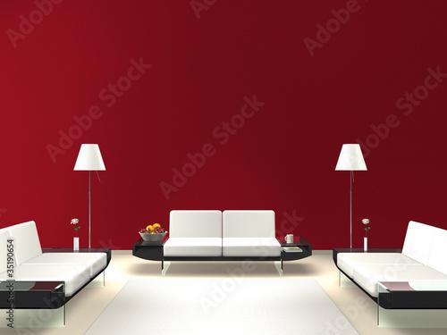 lounge mit roter wand stockfotos und lizenzfreie bilder auf bild 35190654. Black Bedroom Furniture Sets. Home Design Ideas