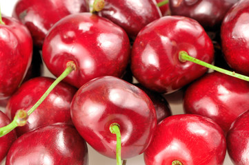 heap of cherries closeup